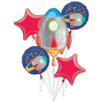 Bouquet Blast off Birthday Foil Balloon P75 Packaged