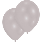 10 Latex Balloons Metallic silver 27.5cm/11""