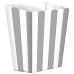 5 Treat Boxes Stripes Silver 9.5 x 13.5 cm