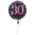 Standard Pink Celebration 30 Foil Balloon, round, S55, packed, 43 cm