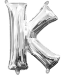 MiniShape Letter K Silver Foil Balloon L16 Packaged 25cm x 33cm