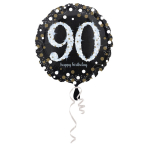 Standard Sparkling Birthday 90 Foil Balloon Round S55 Packaged 43 cm