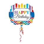 SuperShape Happy BirthdayStripe & Chevron Foil Balloon P35 Packaged 63 x 55 cm