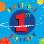 16 Napkins Blast Off Birthday 1st Birthday 33 x 33 cm