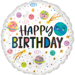 Standard Smiling Galaxy Happy Birthday Foil Balloon S40 Packaged