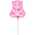 "Mini Shape ""Baby Girl Bear with Bottle"" Foil Balloon, A30, airfilled, 20 x 22cm"