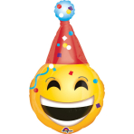 "SuperShape ""Emoticon Party Hat"" Foil Balloon, P30, packed, 55 x 99 cm"