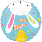 Standard Hello Bunny Foil Balloon circle S40 packaged