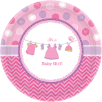 8 Plates Shower With Love - Girl Paper Round 17.7 cm