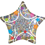 Standard Happy Birthday Stars Foil Balloon S55 Packaged