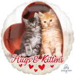 "Standard ""Avanti Hugs & Kittens"" Foil Balloon Round, S60, packed, 43cm"