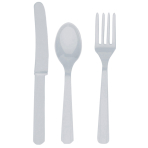 Cutlery Clear Plastic (8 Knives, 8 Spoons, 8 Forks) 17.1 cm / 14.7 cm / 15.7 cm