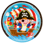 8 Plates Pirate Round Paper 23 cm