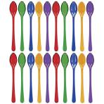20 Cocktail Spoons Plastic Assorted (Jewel Tone) 10.4 cm