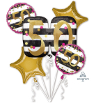 "Bouquet ""Pink & Gold Milestone 50"" Foil Balloon, P75, packed"