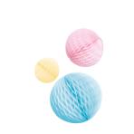 3 Honeycomb Decorations Pastel Rainbow Paper 14 cm / 18 cm / 22 cm