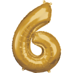 Large Number 6 Gold Foil Balloon N34 Packaged 55 cm x 88 cm
