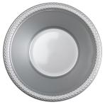 10 Bowls Plastic Silver 355 ml