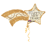 SuperShape Happy New Year Shooting Gold Star Foil Balloon P35 Packaged