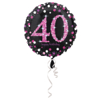 Standard Pink Celebration 40 Foil Balloon, round, S55, packed, 43 cm
