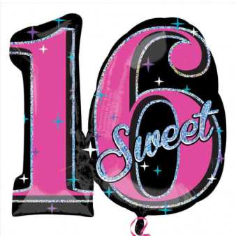 SuperShape Sweet 16 Sparkle Foil Balloon P40 Packaged 71 x 66 cm