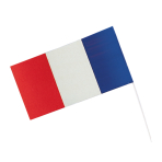 Flag France With Rod Paper /  Plastic 12 x 23 cm