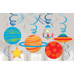 12 Swirl Decorations Blast Off Foil / Paper 61 cm
