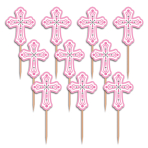 36 Picks Christening Day Pink Plastic 7.6 cm