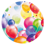 8 Plates Balloons Paper Round 22.8 cm