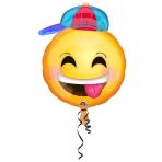 Junior Shape Happy Emoticon with Hat Foil Balloon, S50, bulk, 43x50 cm