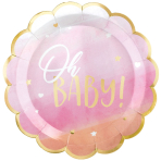 8 Plates Oh Baby Girl Metallic Paper Round Scalloped 26.6 cm