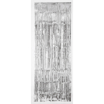 Door Curtain Silver Metallic Plastic 243 x 91.4 cm