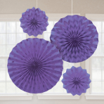 4 Fan Decorations Glitter New Purple Paper 20.3 cm / 30.4 cm / 40.6 cm