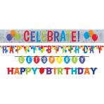4 Letter Banners Balloon Bash Foil / Paper 228 cm / 152 cm / 137 cm / 48 cm