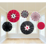 6 Printed Paper Fans Place Your Bets