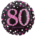 Standard pink Celebration 80 Foil Balloon, round, S55, packed, 43 cm