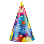 6 Party Cone Hats Ballon Party 2 Paper Height 16.2 cm