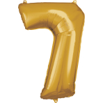 Large Number 7 Gold Foil Balloon N34 Packaged 58 cm x 88 cm