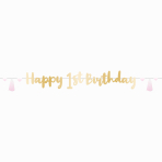 Letter Banner 1st Birthday Pink Ombre Paper Length 180 cm